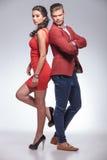Manierman en vrouw die zich rijtjes bevinden Royalty-vrije Stock Foto's