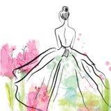 Maniermeisje in mooie kleding - schets stock illustratie