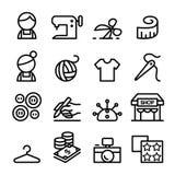 Manierontwerp, kleermaker, Naaister, naaiende die pictogrammen in dun worden geplaatst Stock Foto
