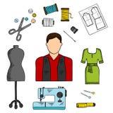 Manierontwerper met het naaien van hulpmiddelen gekleurde schets Stock Afbeeldingen