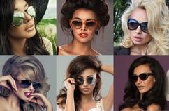 Manierportret van een mooie donkerbruine vrouw met zonnebril Royalty-vrije Stock Foto's