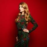 Manierportret van elegante vrouw met prachtig haar stock foto