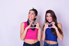 Manierportret van twee vrouwen die pret hebben Het concept van de vriendschap Stock Afbeeldingen