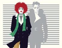 Maniervrouw en man in stijlpop-art Vector illustratie stock illustratie