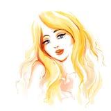 Maniervrouw met lang blondehaar Royalty-vrije Stock Foto