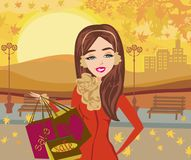 Maniervrouw op Autumn Shopping stock illustratie