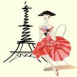 Maniervrouw in Vietnamese hoed dichtbij de Toren Parijs van Eiffel vector illustratie