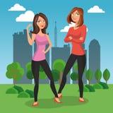 Maniervrouwen bij park stock illustratie