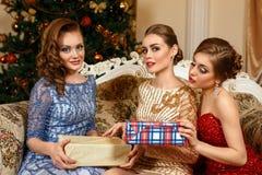 Maniervrouwen die giften ruilen royalty-vrije stock afbeelding