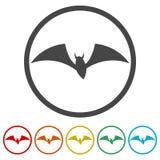 Maniez la batte la silhouette, icônes de battes réglées, 6 couleurs incluses illustration de vecteur