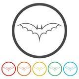 Maniez la batte la silhouette, icônes de battes réglées, 6 couleurs incluses illustration stock