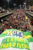 Manifest i Sao Paulo/Brasilien arkivfoto
