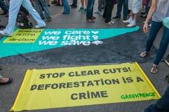 Manifest mot ovettig skogsavverkning royaltyfria bilder