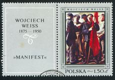 Manifest. POLAND - CIRCA 1968: stamp printed by Poland, shows Manifest, by Wojciech Weiss, circa 1968 stock photography