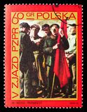 Manifest , by Wojciech Weiss, 5th Congress of The Polish United Worker's Party serie, circa 1968. MOSCOW, RUSSIA - SEPTEMBER 15, 2018: A stamp printed in Poland royalty free stock photo