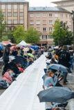 Manifestação de protesto da manifestação dos povos contra a imigração polic Fotografia de Stock