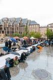 Manifestação de protesto da manifestação dos povos contra a imigração polic Fotografia de Stock Royalty Free