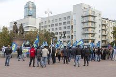 Manifestações em massa em yekaterinburg, Federação Russa fotografia de stock royalty free
