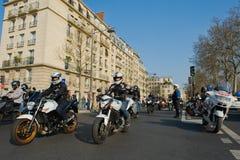 Manifestación de los motoristas en París foto de archivo libre de regalías