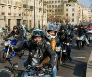 Manifestación de los motoristas en París fotos de archivo libres de regalías