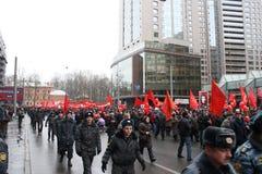 Manifestación masiva de la izquierda rusa el 7 de noviembre fotografía de archivo