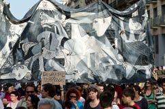 Manifestación pacífica del 12M para el aniversario de el 15M Foto de archivo libre de regalías