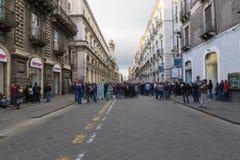 Manifestacja przeciw surowość miarom w Catania obrazy stock
