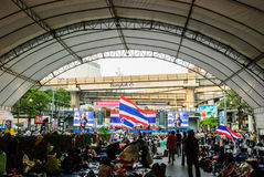 Manifestante tailandés contra el gobierno Fotos de archivo libres de regalías