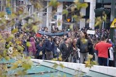 Manifestantes de Atenas 09-01-09 Imágenes de archivo libres de regalías