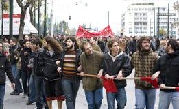 Manifestantes de Atenas 09-01-09 Fotos de archivo libres de regalías