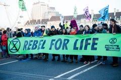 Manifestantes de la rebelión de la extinción en el puente de Westminster, Londres imagen de archivo libre de regalías
