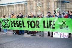 Manifestantes de la rebelión de la extinción en el puente de Westminster, Londres imágenes de archivo libres de regalías