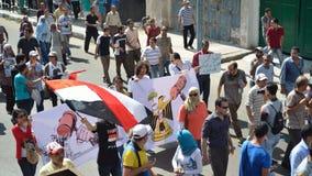 Manifestantes de los egipcios que piden reforma Foto de archivo libre de regalías