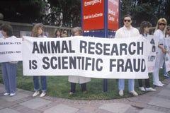 Manifestantes del derecho de los animales que llevan a cabo muestras Fotografía de archivo