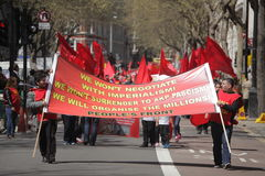 Manifestantes del primero de mayo Imágenes de archivo libres de regalías