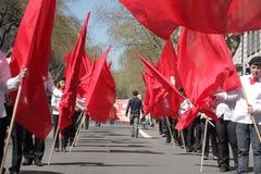 Manifestantes del primero de mayo Fotografía de archivo libre de regalías