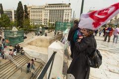Manifestantes durante el día del mundo de acción contra TTIP CETA TISA, (sociedad transatlántica del comercio y de la inversión) Fotos de archivo libres de regalías
