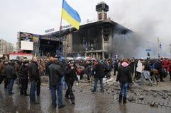 Manifestantes en el cuadrado Kiev de la independencia Imagen de archivo