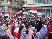 Manifestantes que piden la dimisión del presidente Imagen de archivo libre de regalías