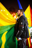 Manifestantes y banderas, Bucarest, Rumania Fotografía de archivo libre de regalías