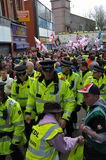 Manifestatie EDL in Blackburn Stock Foto
