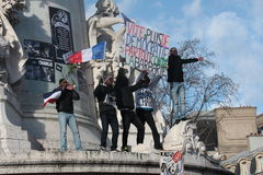 Manifestation against terrorism in Paris. Stock Photo