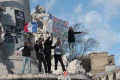 Manifestation against terrorism in Paris. Royalty Free Stock Photography