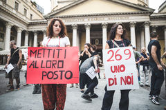 manifestation för 269 liv i Milan på September, 26 2013 Arkivfoton