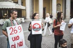 manifestation för 269 liv i Milan på September, 26 2013 Arkivbilder