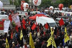Manifestation för Maj dag, Paris Royaltyfria Bilder