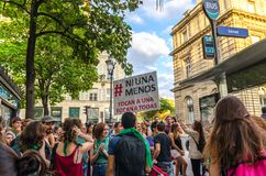 Manifestation in front of the French Senate in support of the vote in Argentina for free abortion. Argentines and Latinos meet in front of the French Senate in royalty free stock image