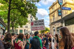 Manifestation in front of the French Senate in support of the vote in Argentina for free abortion. Argentines and Latinos meet in front of the French Senate in stock photos