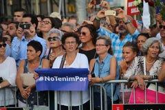 Manifestation mot terrorism i Barcelona Royaltyfri Foto
