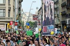 Manifestation paisible de 12M pour l'anniversaire de 15M Photos stock